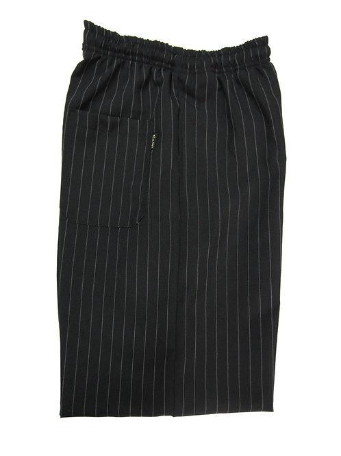 Pantalón modelo Resorte color Negro con rayas finas blancas