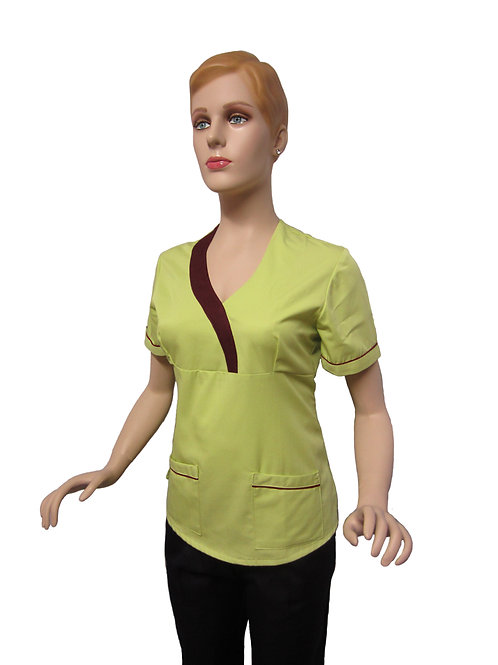 Conjunto: Chaqueta cuello V con Detalles y Pantalon Resorte, Color Verde Claro
