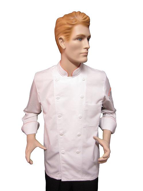 Chaqueta de Chef Clasica con Distintivo Naranja.