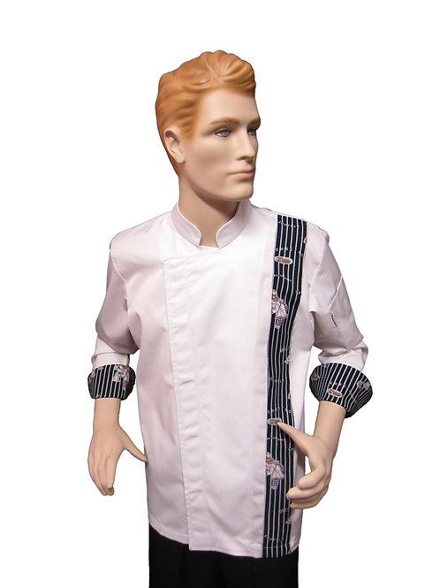 Chaqueta de Chef Modelo Broche con Detalles Pasteleria Azul