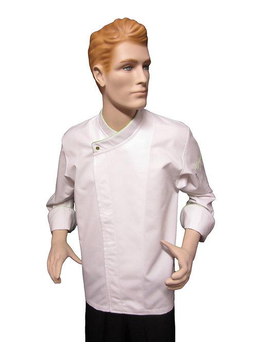 Chaqueta de Chef Modelo Broche Visto con Detalles Verde