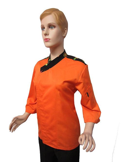 Chaqueta de Chef Mujer Naranja con Hombrera Combinada diseños