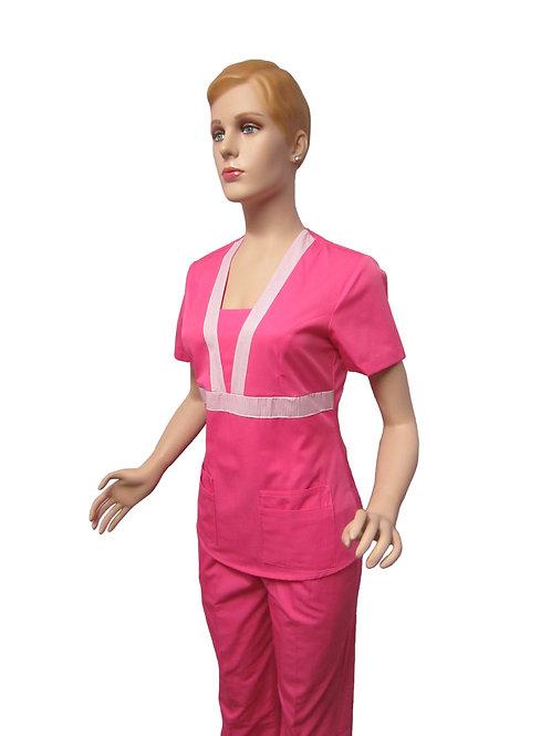 Conjunto: Chaqueta cuello V con Detalles y Pantalon Resorte, Color fucsia