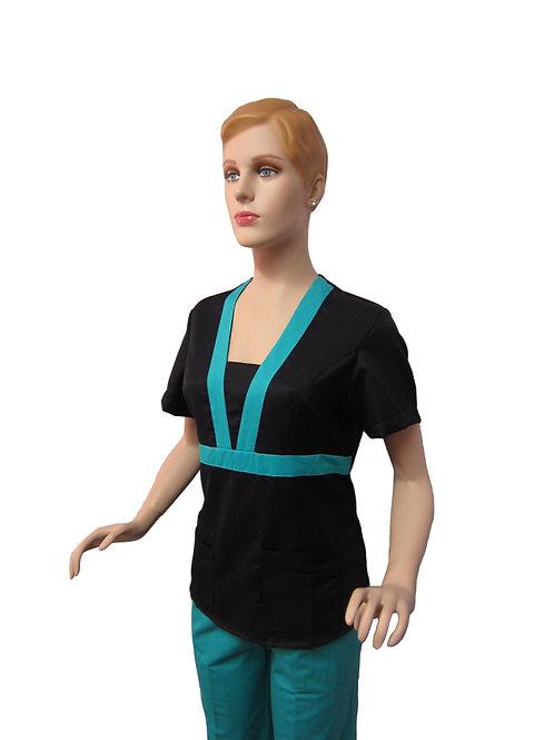 Conjunto: Chaqueta Cuello en V con Detalles y Pantalon Resorte, Color Azul M.