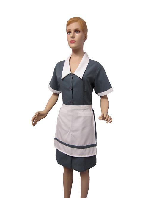 Conjunto Limpieza Vestido gris y delantal blanco