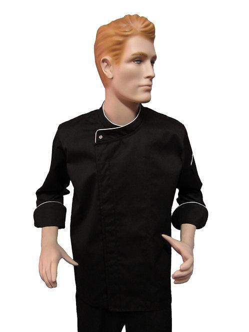 Chaqueta de Chef Modelo Broche Visto con Detalles blanco