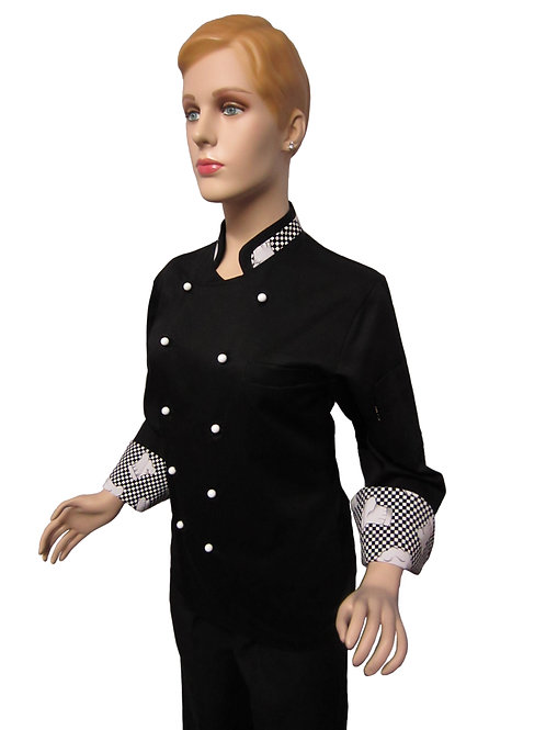 Chaqueta de Chef Modelo Cuello Combinado en Diseños de Gorros Mujer