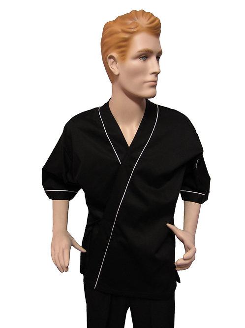 Chaqueta Kimono Negra con Detalles Blancos