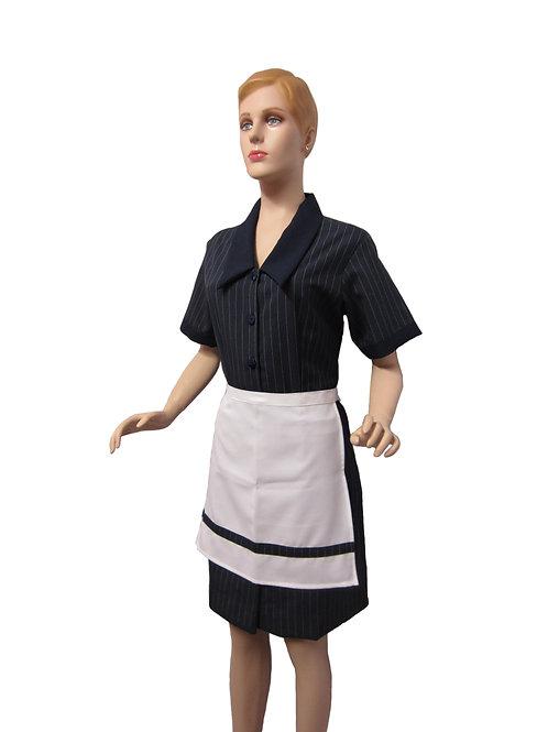 Conjunto Limpieza Vestido azul marino rayas finas blancas y delantal corto blanc