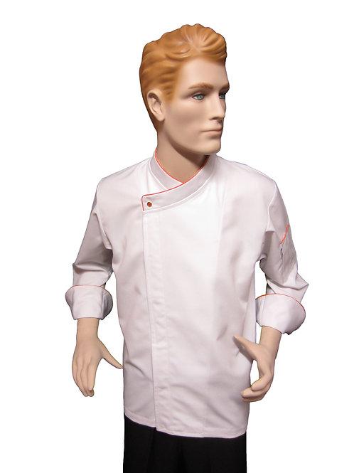 Chaqueta de Chef Modelo Broche Visto con Detalles Naranja.