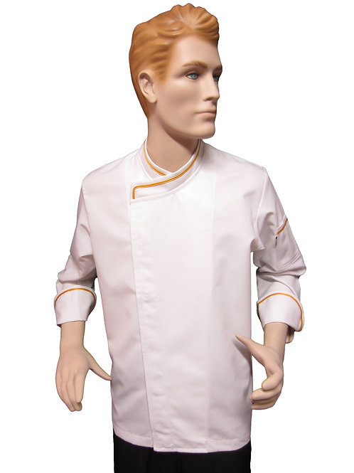 Chaqueta de Chef Modelo Broche con Detalles Dorado