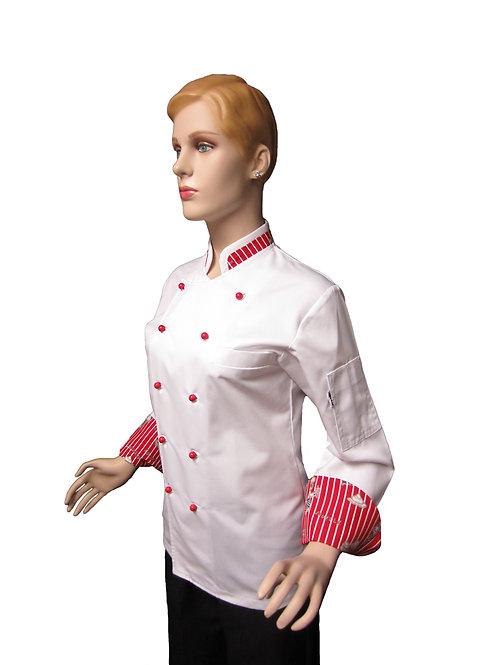 Chaqueta de Chef Modelo Cuello Combinado en Diseños de Pasteleria Mujer