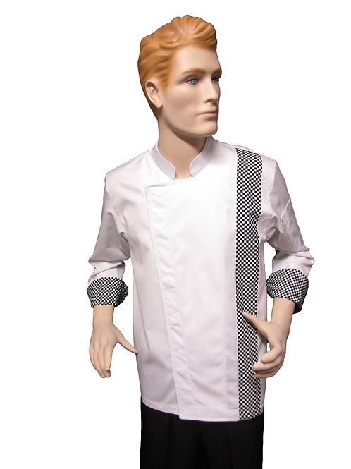 Chaqueta de Chef Modelo Broche con Detalles Ajedrez