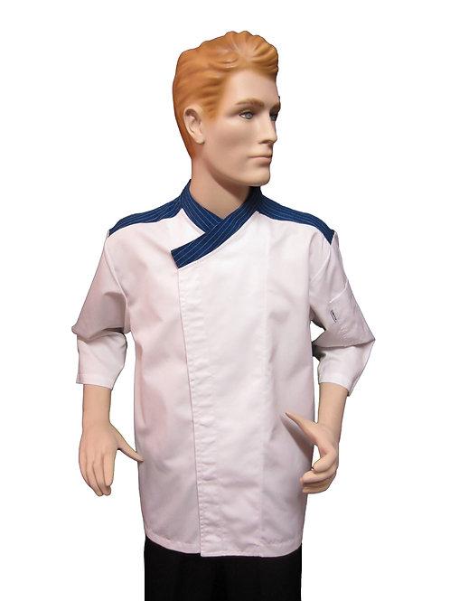 Chaqueta de Chef con Hombrera Azul Rayas.