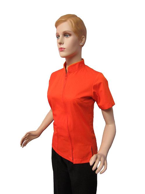Conjunto: Chaqueta Cuello Neru con Detalles y Pantalon Resorte, Color Naranja