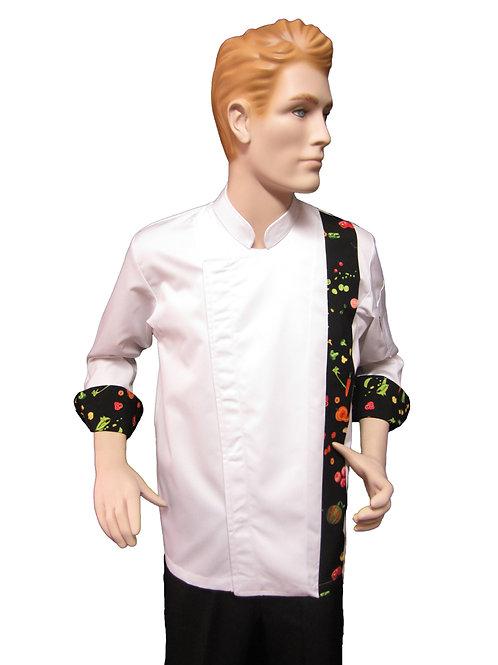 Chaqueta de Chef Modelo Broche con Distintivo Verduras Negro
