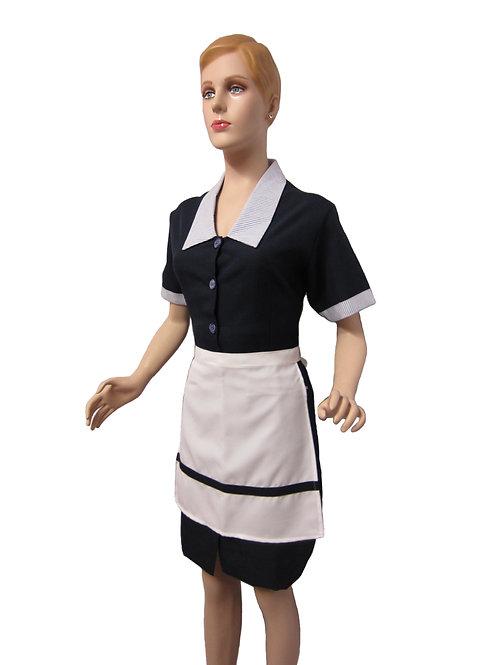 Conjunto Limpieza Vestido azul marino rayas finas celeste y delantal corto blanco