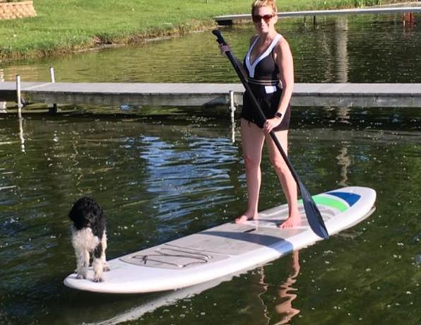 Oscar the waterboard dog