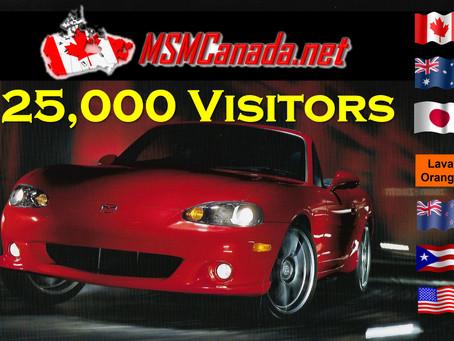 MSMCanada.net  reaches                      Milestone - 25,000 visitors !!