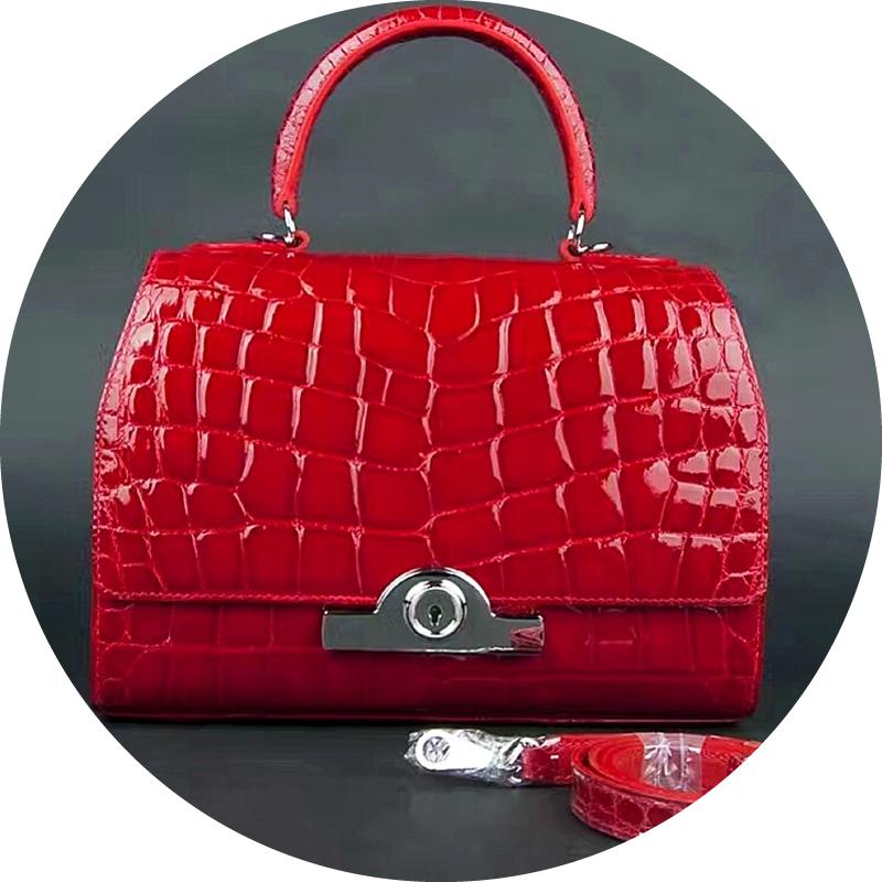 Red Crocodile Leather Mini Handbag