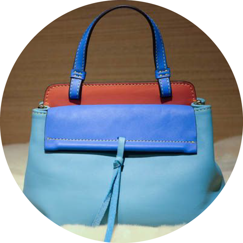 Red and Blue Hermes-inspired Bag