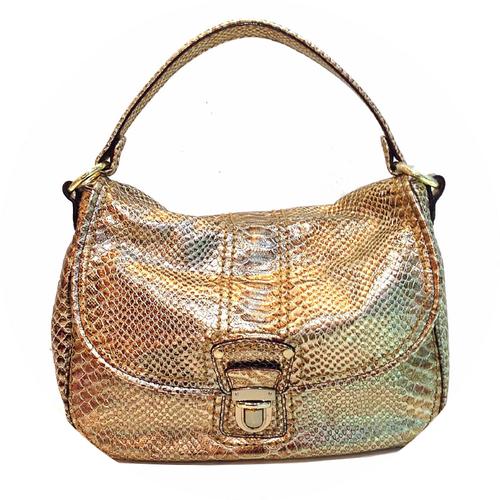 Gold Snakeskin Metallic Handbag