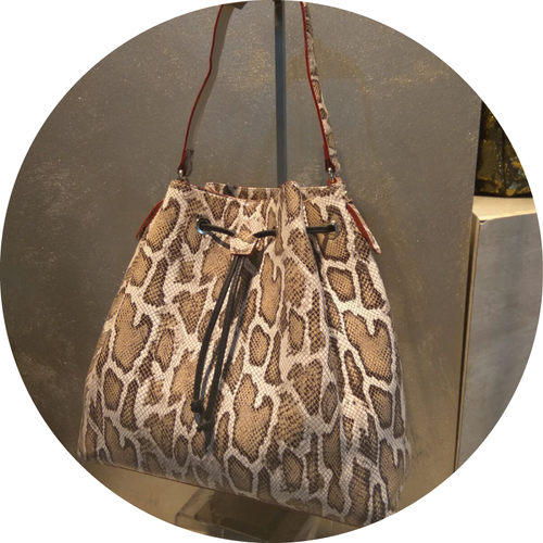 Exotic Giraffe Leather Shoulder Bag
