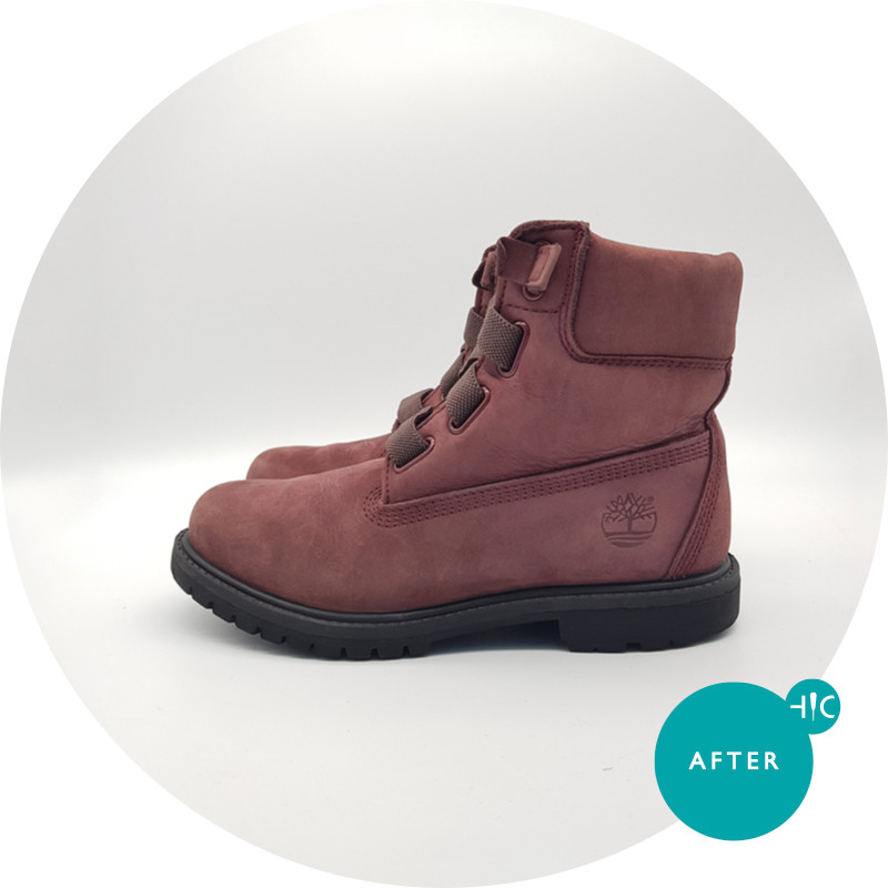 Timberland Burgundy Premium Boots Cleaning
