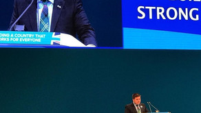 Councillor Struan Mackie addresses party conference in Manchester