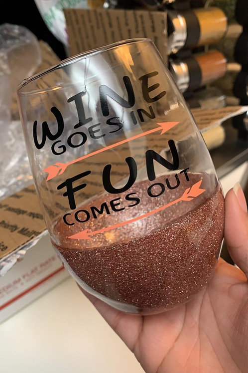 Half Glitter Wine Glass