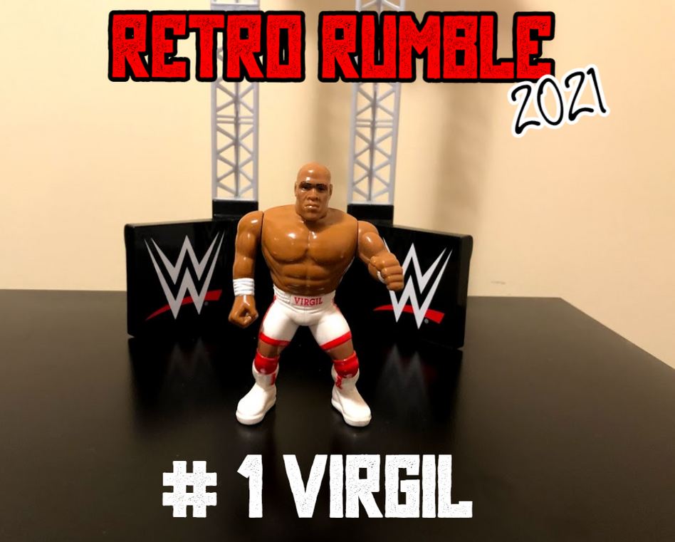 Welcome, everyone, to Retro Rumble 2021, where we pit 30 WWF Hasbro and WWE Retro figures against each other. Coming out first is Wrestling Superstar Virgil, who somehow made it to the second-last position in the 2020 Retro Rumble.   That event was won by The Undertaker, whom we understand will NOT be participating in this year's event. Could Virgil have another miracle year? Let's see who drew entry number two....