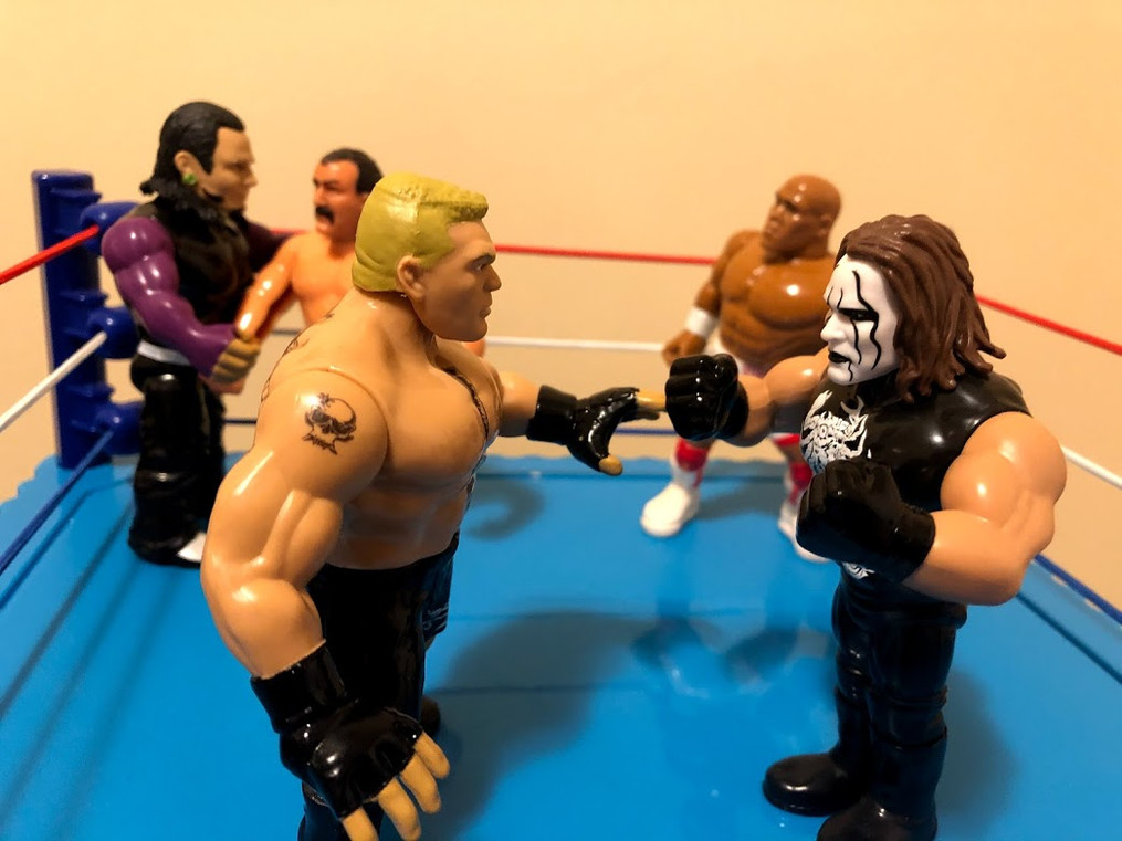 Brock Lesnar and The Stinger stare each other down in the middle of the ring, while Jeff Hardy, Jake The Snake Roberts and Virgil remain in the ring. Who will survive Retro Rumble 2021? Tune in to next week's instalment to see what happens next!!