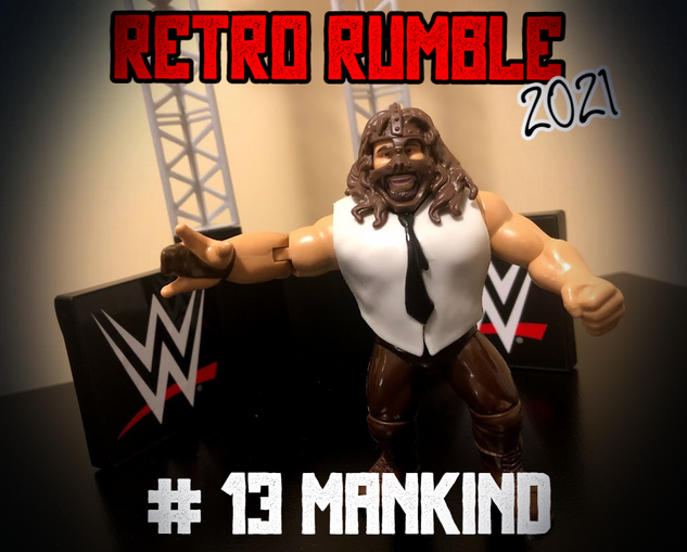 Next out at lucky number 13 is Mankind. He's hoping to Have A Nice Day in this match.