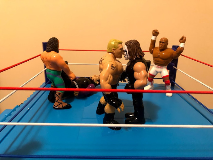 Welcome, everyone, to Retro Rumble 2021, where we pit 30 WWF Hasbro and WWE Retro figures against each other.  When we last left off, Brock Lesnar and Sting were about to square off for the first time. Also in the ring are Jeff Hardy, Jake The Snake Roberts and for some reason, Wrestling Superstar Virgil.