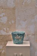Misure  Ø 14 x  l 13      Vasetto decoro libellula     Ceramica   Hand Made      Produzione artigianale portoghese