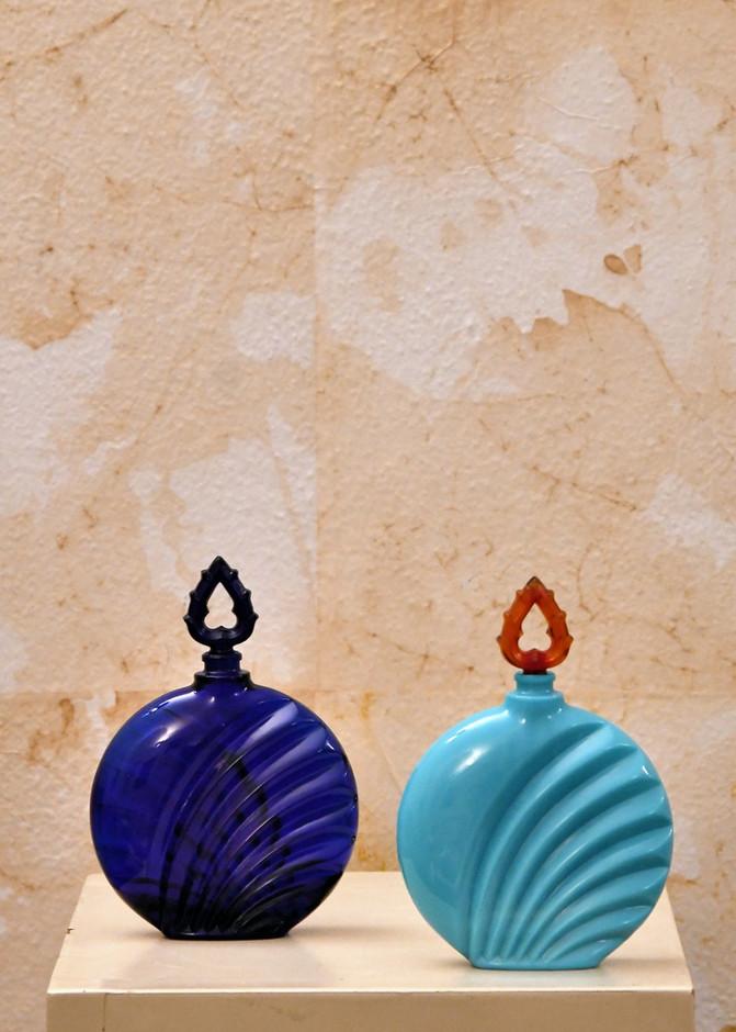 Misure h 13 x Ø 20   Flaconi ispirazione Deco turchese e blu Pasta di turchese e vetro
