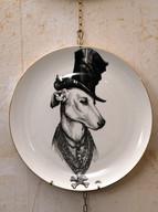 Misure Ø 27    Piatto con cane     Ceramica