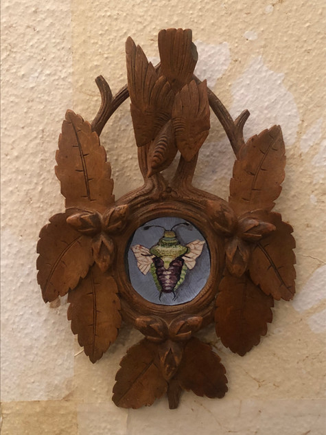 Misure h 22 x l 15 Cornicetta legno intagliato Hand Made Legno con decoro e dipinto