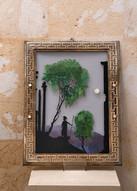 Misure 35 x 26,5 Silhouette su vetro dipinto a mano Cornice d'epoca