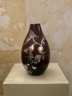 """Misure h 22 x Ø 109   Vaso """"Gali"""" Vetro con decorazioni in foglia  d'argento Hand Made"""