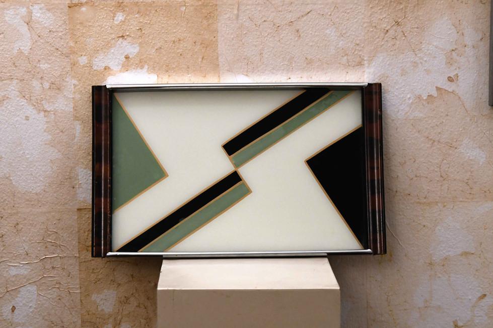 Misure 41 x 25      Quadro / Vassoio '900       Vetro dipinto e legno