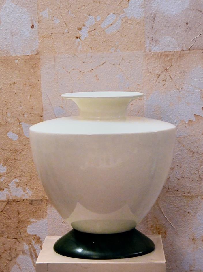 5 Misure  30 x 30    Vaso Laveno Firmato Gariboldi per     Richard Ginori    Ceramica di Laveno e base legno
