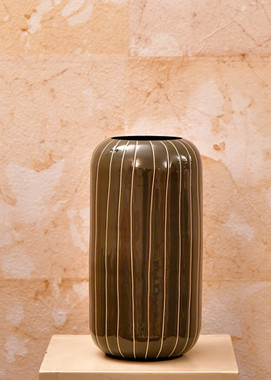 Misure h 26 x Ø 45   Vaso verde moderno righe Ceramica