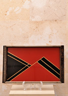 Misure l 32,5 x l 20  Vassoio rosso 900' Vetro dipinto e legno
