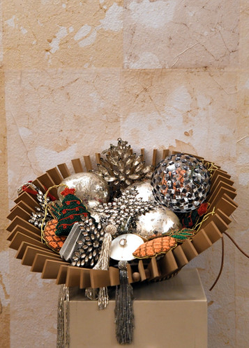 Centro tavola moderno, gomma effetto pelle Ciondoli natalizi  - misure varie Vetro argentato, strass, carta effetto origami