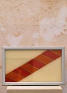 Misure 29 x 16 Vassoietto rosso epoca 900'Vetro dipinto legno e cromo