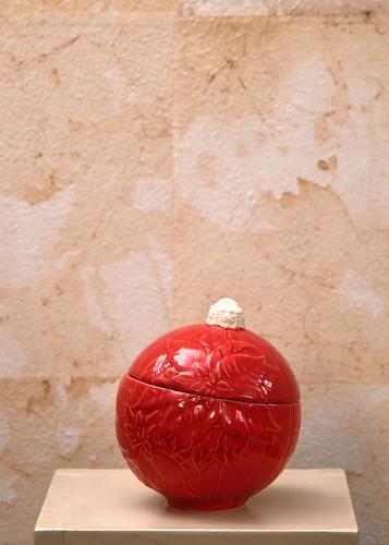 Misure h 16 Ø  20 Potiche palla di Natale rossa Ceramica - handmade