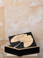 Misure  l 10 x p 20 x h 6,5      Scatola Ginko Biloba    Pietra        Produzione artigianale