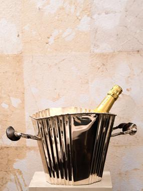 Misure Ø 38  x h 20    Secchiello Champagne        Argento e legno