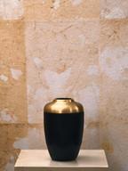 Misure Ø 10 h 12 Vaso nero e oro  Pietra derisa e metallo dorato